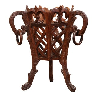 19th Century French Carved Black Forest Walnut Plant Stand With Fleurs De Lys For Sale