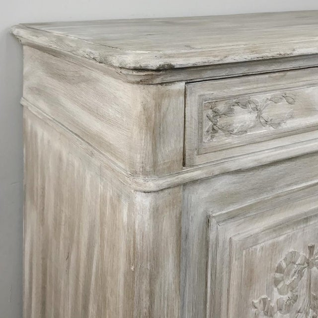 Late 19th Century 19th Century Country French Louis XVI Whitewashed Buffet For Sale - Image 5 of 13