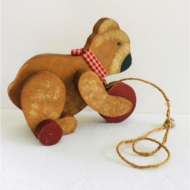 Folk Art Vintage Primitive Wood Teddy Bear on Rolling Wheels For Sale - Image 3 of 11