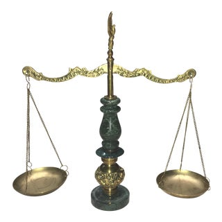 Rare Japanese Polished Bronze and Italian Marble Apothecary Balance Scale For Sale