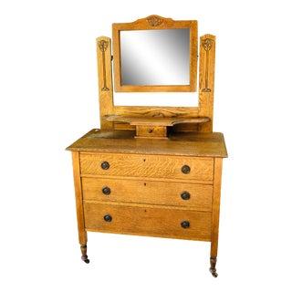 Vintage Mission 3-Drawer Dresser With Mirror For Sale