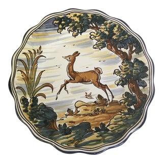 "Talavera Majolica Deer Cabinet Plate 11.5"" For Sale"