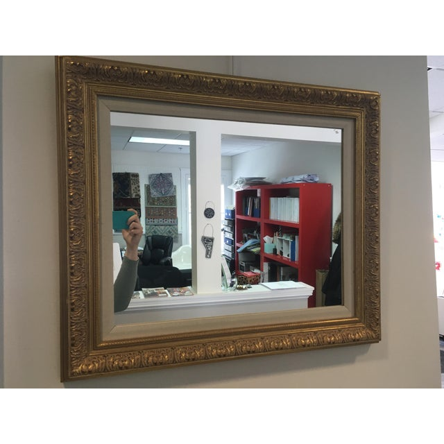 Late 20th Century Gold Leafing Mirror With Fabric Inner Frame For Sale - Image 5 of 5