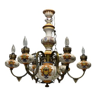 Vintage 1940s Tuscan Italian Hand Painted Chandelier For Sale