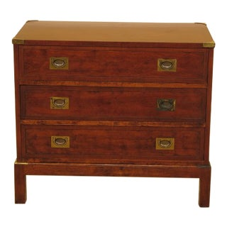 Campaign Style Three Drawer Cherry Bachelor Chest For Sale