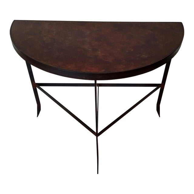 Iron & Acid Washed Copper Console Table - Image 1 of 7