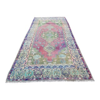 Turkish Vintage Anatolian Handmade Pastel Area Rug For Sale