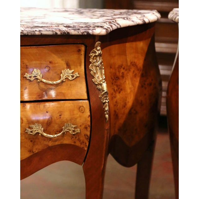 Vintage Louis XV Burl Walnut Bombe Nightstands Chests With Marble Top - a Pair For Sale In Dallas - Image 6 of 11