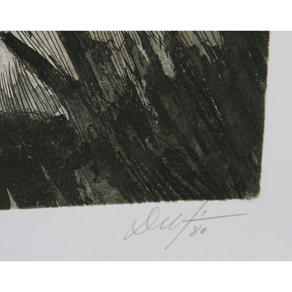 """Victor Delfin, """"Old Owl,"""" Etching - Image 2 of 2"""