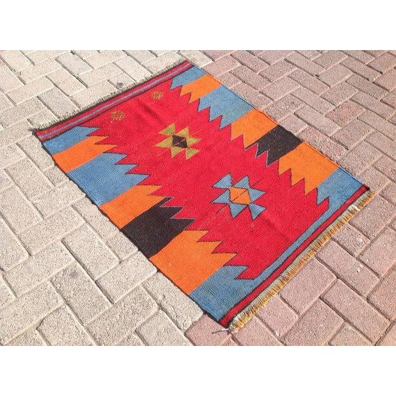 Vintage Turkish Kilim Rug - 2′9″ × 3′6″ - Image 4 of 6