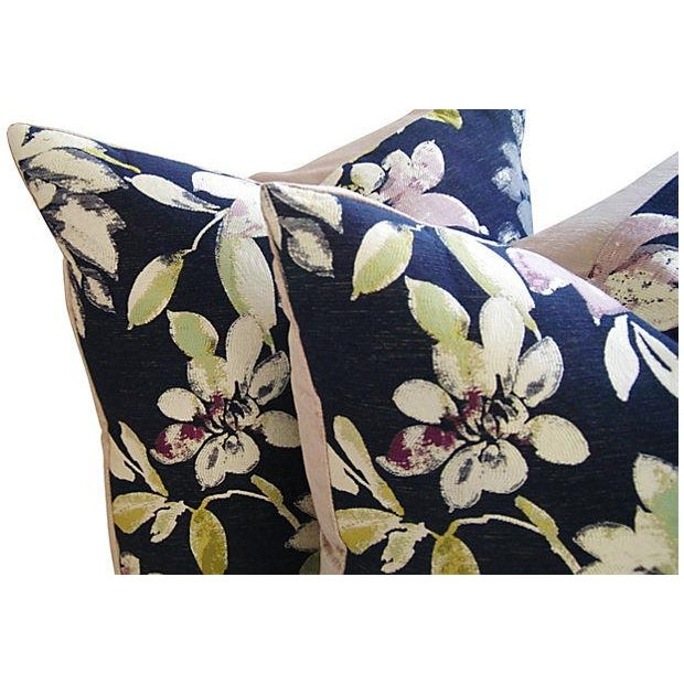Custom French Floral Silk & Linen Pillows - A Pair - Image 3 of 7