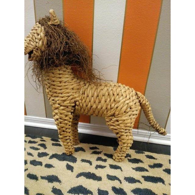 Mario Torres Vintage Mario Lopez Torres Style Raffia Wicker Whimsical Lion Figure Statue Decor For Sale - Image 4 of 7