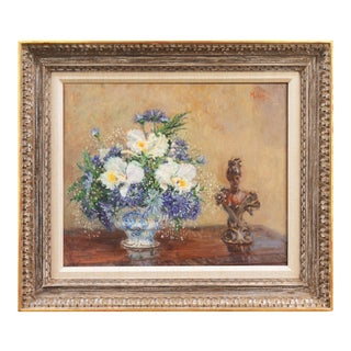 'White Irises and Cornflowers' by Alan Maley, 1960; Impressionist Still Life by Academy Award Winner For Sale