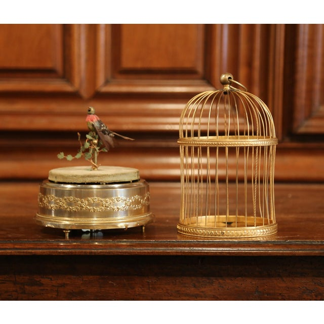 19th Century French Automaton Singing Bird in Brass Cage For Sale - Image 4 of 13