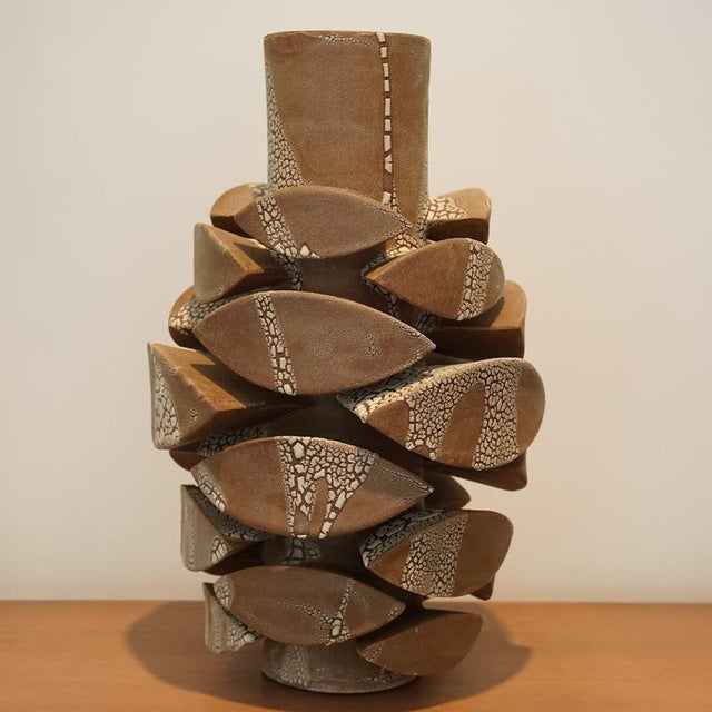 Contemporary Contemporary White Crackle Totem Large by Titia Estes For Sale - Image 3 of 5