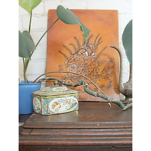 Islamic Persian Lovers Painting on Leather- Signed For Sale - Image 3 of 7