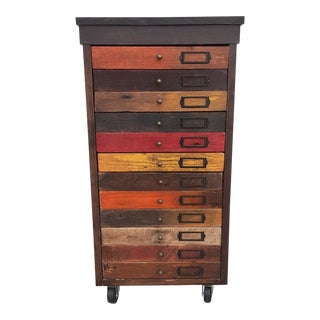 Industrial Reclaimed Wood Machinist Chest of Drawers For Sale