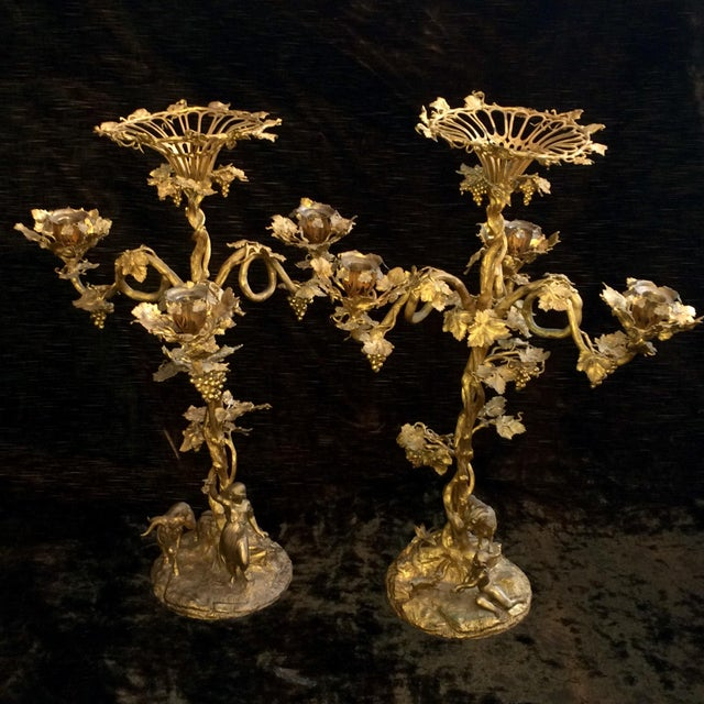 Fired Gilt Vineyard Candelabras - A Pair - Image 2 of 9