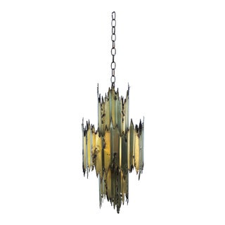 Mid-Century Brutalist Brass Chandelier by Tom Greene For Sale