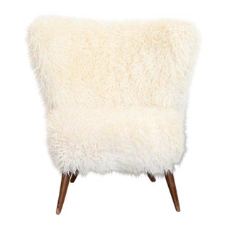 Fluffy Lounge Chair With White Faux Fur, 1950s For Sale