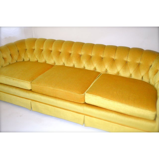 Vintage Yellow Tufted Sofa - Image 4 of 6