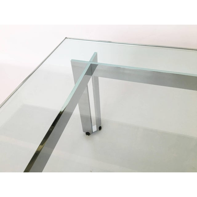 Chrome Modernist Square Chrome and Glass Coffee Table For Sale - Image 7 of 9