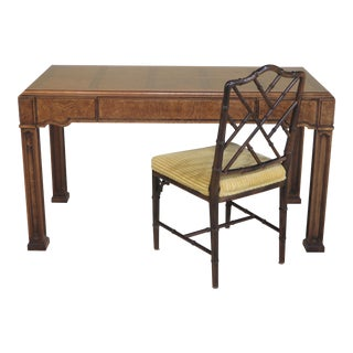 Thomasville Walnut 1-Drawer Writing Desk & Chair - A Pair