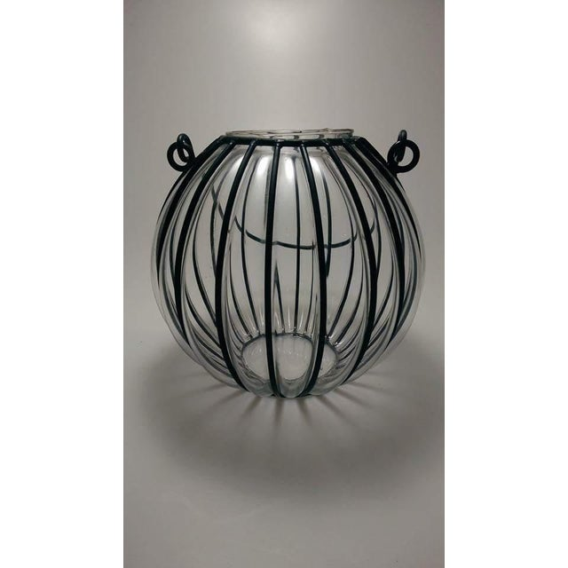 Caged Bubble Glass & Wrought Iron Lantern Hanging Basket For Sale - Image 4 of 7