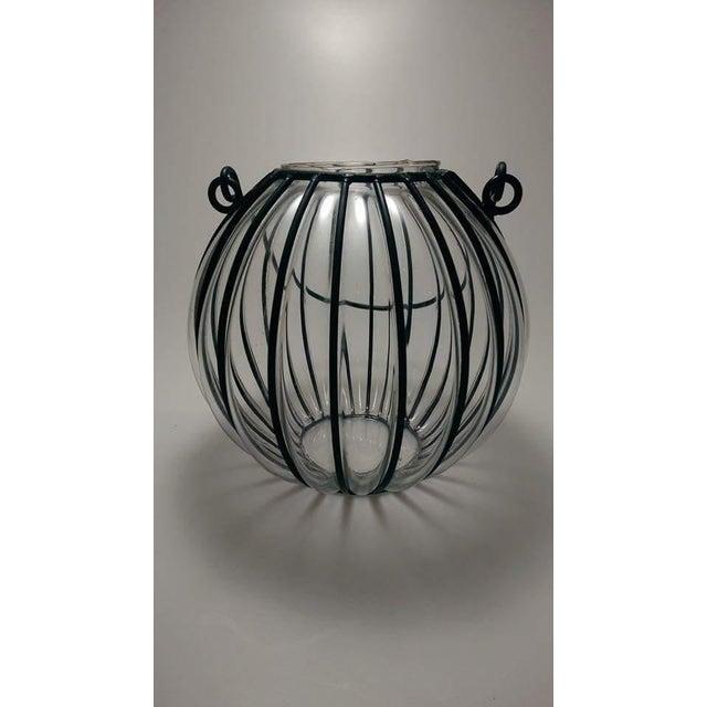 Caged Bubble Glass & Wrought Iron Lantern Hanging Basket - Image 4 of 7