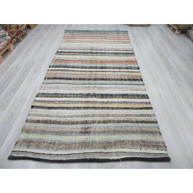 Vintage striped rag rug from Afyon region of Turkey. Approximately 35-45 years old.In very good condition.