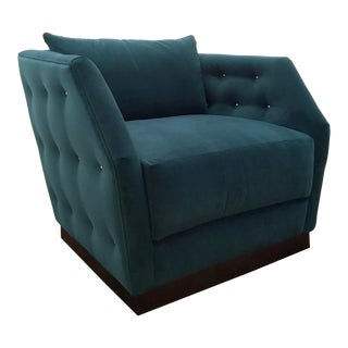 Caracole Modern Teal Tuft and Turn Swivel Club Chair For Sale