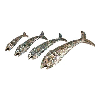 Set of 4 Vintage Mexican Abalone Fish in Graduated Sizes Including Super Size For Sale