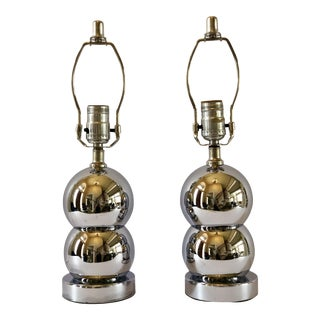 1970s George Kovacs Stacked Chrome Ball Table Lamps – a Pair For Sale