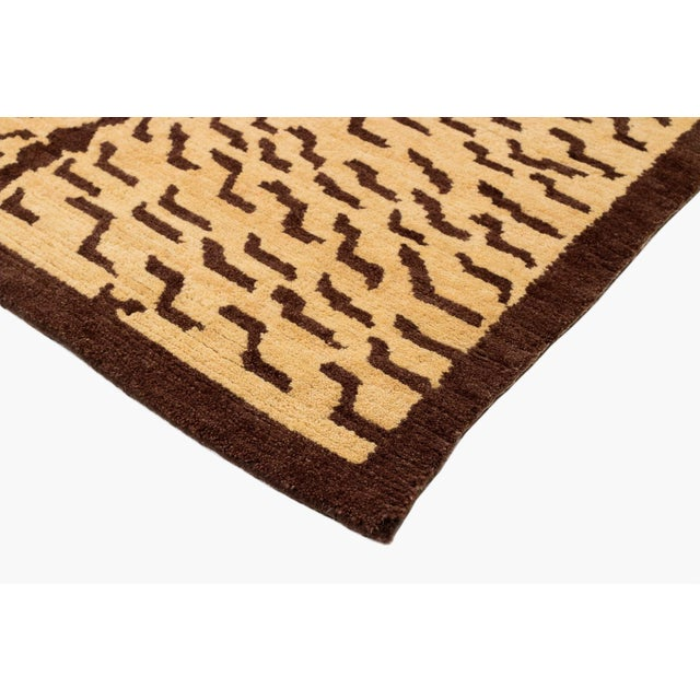 2010s Brown and Tan Wool Tiger Area Rug-3′ × 6′ For Sale - Image 5 of 7