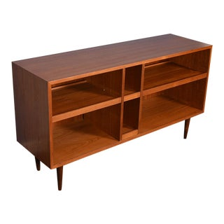 Deep Open Teak Bookcase / Media Cabinet W/ Pull-Out Shelves For Sale