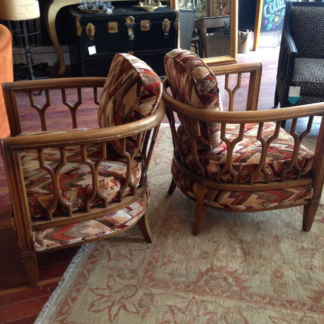 Vintage Barrel Back Club Chairs - A Pair - Image 6 of 11