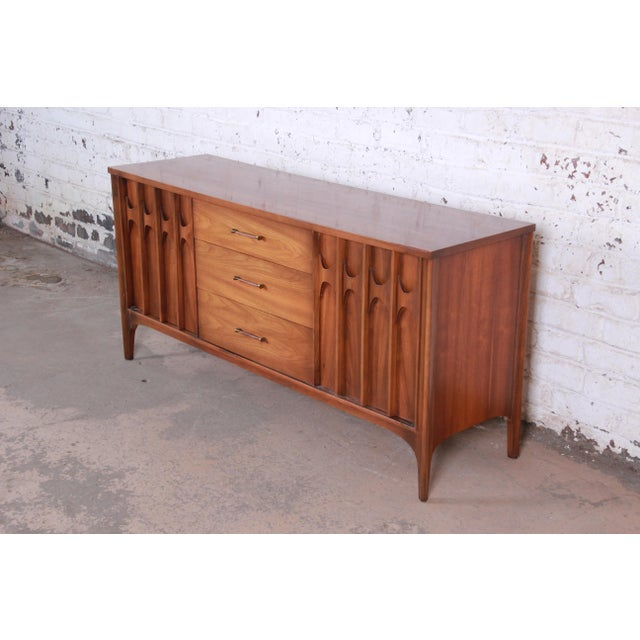 Kent Coffey Kent Coffey Perspecta Sculpted Walnut and Rosewood Credenza For Sale - Image 4 of 11