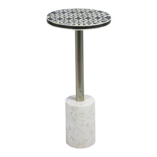 Kenneth Ludwig Sultana Round Bone & Marble Drinks Table For Sale