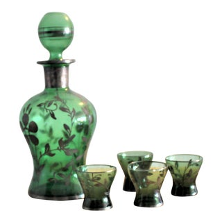 Vintage Emerald Green Venetian Glass With Silver Overlay Decanter and Cordial Set- 6 Pieces For Sale