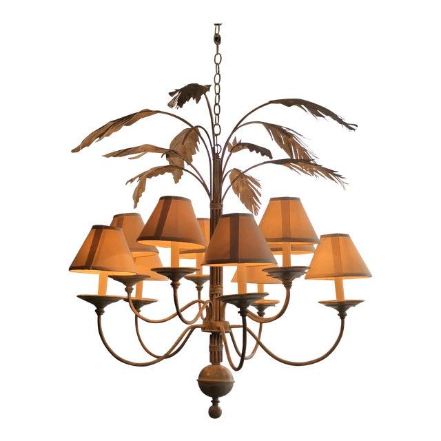 Vintage Palm Tree Frond Leaf Chandelier For Sale