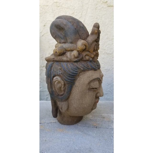 A beautiful vintage Quan Yin head. Sculpted from wood with a gesso finish. Hand painted with crackled glaze. Chinese