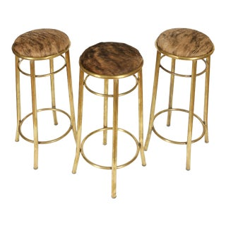 Brass and Hide Round Barstools - Set of 3 For Sale