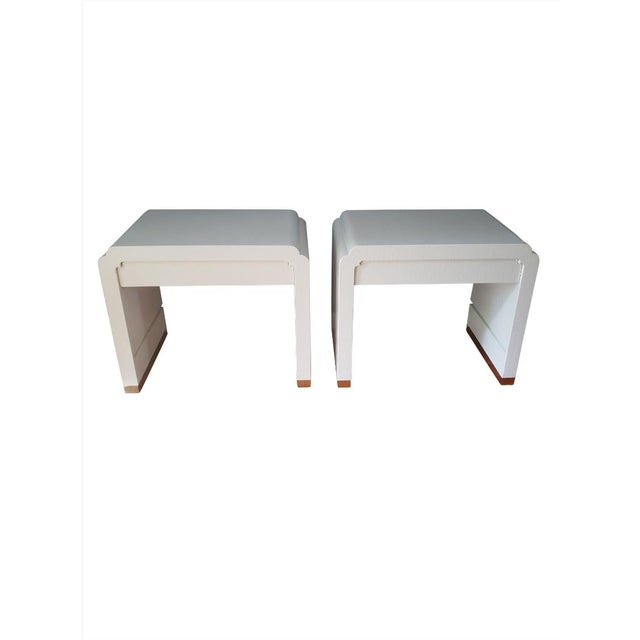 Linen Wrapped Nightstands by Ron Seff-a Pair For Sale - Image 12 of 12