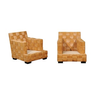 Stunning Pair of Block Island Club Chairs by John Hutton for Donghia For Sale