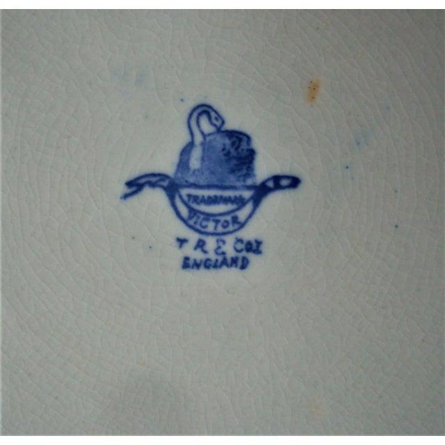 1940s Vintage English Flow Blue Serving Plate For Sale - Image 4 of 5