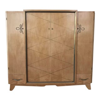 1930s Vintage French Art Deco Wardrobe Cabinet For Sale