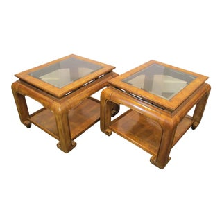Mid Century Asian Style Side Tables With Beveled Glass Tops - a Pair For Sale