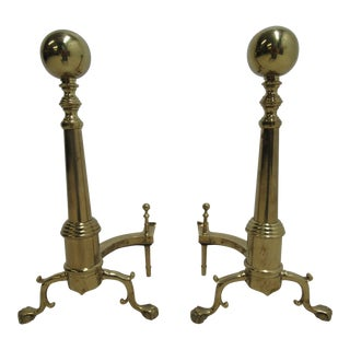 1940s Vintage Virginia Metalcrafters Style Cannon Ball Andirons - A Pair For Sale