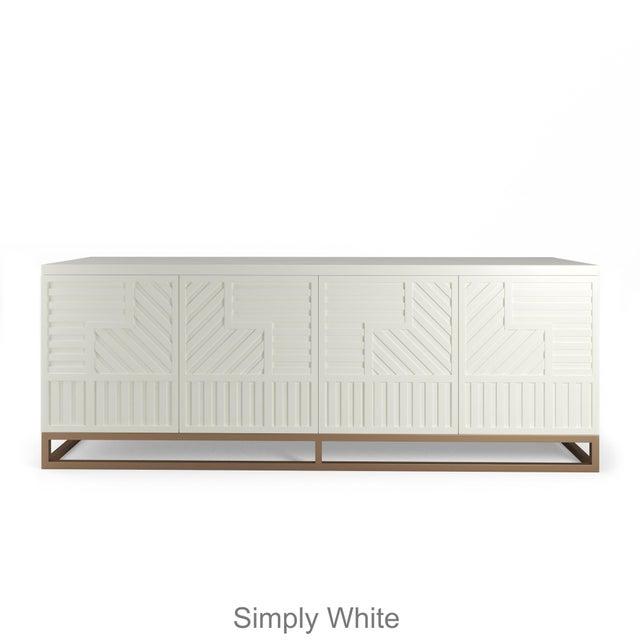 Stria Credenza - Brushed Brass Base, Weatherd Grey Oak For Sale - Image 4 of 5