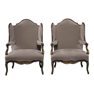 Pair French Walnut Wing Chairs With Gilt Detailing